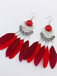 Fashion Ethnic Drop Earrings Jewelry Women Party Daily Alloy Feather 1 pair