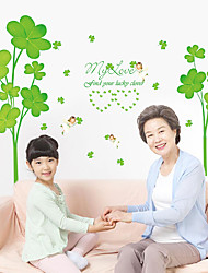 Family Clover Green Plants Wall Stickers Fashion Removable Living Room Wall Decals