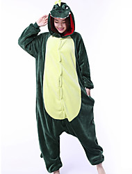cheap -Kigurumi Pajamas Dragon Dinosaur Onesie Pajamas Costume Coral fleece Green Cosplay For Adults' Animal Sleepwear Cartoon Halloween