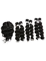 cheap -Indian Hair Deep Wave Human Hair Hair Weft with Closure Human Hair Weaves Human Hair Extensions