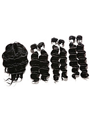 cheap -Indian Hair Deep Wave Hair Weft with Closure Human Hair Weaves Natural Black Human Hair Extensions
