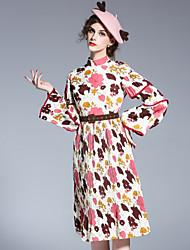 Trapèze Robe Femme Sortie Mignon,Imprimé Mao Au dessus du genou Manches Longues Beige Polyester Printemps Eté Taille Normale Non Elastique