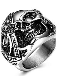 preiswerte -Ring Statement-Ring Silber Titanstahl Anderen Totenkopf Personalisiert Einzigartiges Design Euramerican Modisch Punk Hochzeit Party