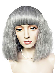 Capless Short Bob Wig Silver Grey Kinky Curly Synthetic Fiber Wig Cosplay Costume Wigs