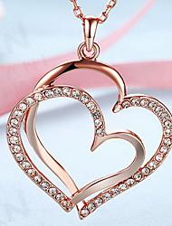 Halskædevedhæng Smykker Hjerteformet 18K guld Legering Kærlighed Hjerte Europæisk kostume smykker Mode Smykker Til Daglig Afslappet