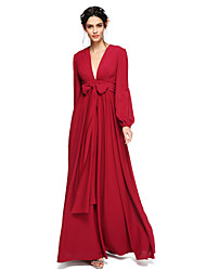 cheap -A-Line V Neck Floor Length Chiffon Bridesmaid Dress with Bow(s) Sash / Ribbon Pleats by LAN TING BRIDE®