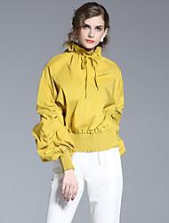 Dámské Jednobarevné Běžné/Denní Jednoduché Košile-Léto Polyester Kulatý Dlouhý rukáv Žlutá