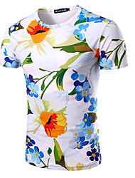 cheap -Men's Daily Sports Formal Going out Casual Active Summer T-shirt,Floral Print Round Neck Short Sleeves Cotton Medium