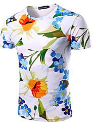 abordables -Tee-shirt Homme, Fleur - Coton Imprimé Sports Actif Col Arrondi