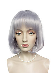 Short BOB Wig Light Purple Synthetic Fiber Wig Hairstyle With Air Bangs Costume Cosplay Wigs