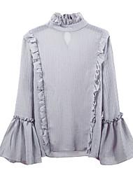 Damen Volltonfarbe Niedlich Hochzeit Alltag Schultaschen Strasse Bluse,Rundhalsausschnitt Frühling Langarm N / A Mittel