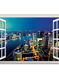 cheap -3D Wall Stickers Wall Decals Style Night View of City River Bend PVC Wall Stickers