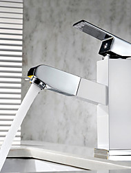 Contemporary Art Deco/Retro Modern Centerset Pullout Spray Ceramic Valve One Hole Single Handle One Hole Painting , Bathroom Sink Faucet