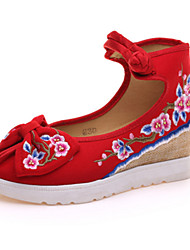 cheap -Women's Oxfords Spring Summer Fall Winter Comfort Novelty Embroidered Shoes Canvas Outdoor Casual Athletic Flat Heel Buckle FlowerBlack