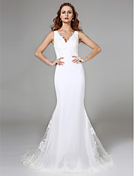 cheap -Mermaid / Trumpet V-neck Sweep / Brush Train Lace Wedding Dress with Lace by LAN TING BRIDE®