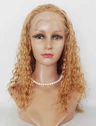 Donna Parrucche di capelli umani con retina Cappelli veri Lace frontale 130% Densità Kinky Curly Parrucca Biondo ramato Medio Lungo