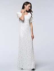 cheap -Women's Work Plus Size Vintage Lace Swing Dress,Solid Round Neck Maxi Short Sleeves Polyester Spring Summer Mid Rise Micro-elastic Medium