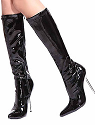 cheap -Women's Shoes PU Winter Fashion Boots Boots Stiletto Heel Pointed Toe Zipper for Party & Evening / Dress White / Black