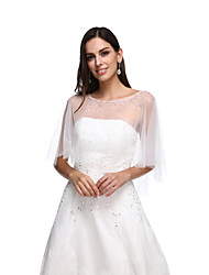 Women's Wrap Capes Tulle Wedding Party/Evening Beading Button