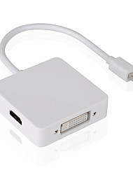 baratos -3 em 1 mini displayport dp para dvi vga conversor adaptador cabo para imac macbook mini pro monitor tv