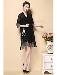 AINIER Women's Embroidery/Tassel Club Sexy Street chic Spring Summer Blouse Dress SuitsFloral V Neck Length Sleeve Polyester