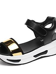 Feminino Sapatos Couro Envernizado Microfibra Primavera Verão Outono Conforto Solados com Luzes Sandálias Caminhada Anabela Ponta Redonda