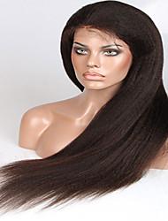 Недорогие -Натуральные волосы Бесклеевая сплошная кружевная основа Полностью ленточные Парик стиль Бразильские волосы Прямой Яки Парик 150% Плотность волос 8-26 дюймовый / Природные волосы / 100% ручная работа