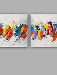 cheap -Hand-Painted Abstract Square, European Style Modern Canvas Oil Painting Home Decoration Two Panels