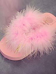 Women's Slippers & Flip-Flops Comfort PU Spring Summer Casual Dress Comfort Flower Flat Heel White Black Purple Fuchsia Blushing Pink Flat