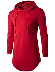 Men's Daily Sports Casual Spring Fall T-shirt,Solid Hooded Long Sleeves Cotton Polyester Medium