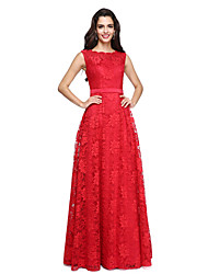 A-Line Bateau Neck Floor Length Lace Satin Prom Formal Evening Dress with Lace Sash / Ribbon by TS Couture®