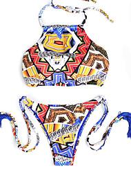 Venus queen Women's Boho Halter Bikini Floral Print Nylon Spandex