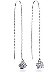 cheap -AAA Cubic Zirconia Drop Earrings - Sterling Silver Silver For Wedding / Party / Daily / Casual