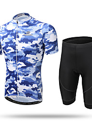 cheap -XINTOWN Men's Short Sleeve Cycling Jersey with Shorts - Yellow Camouflage Bike Shorts / Jersey / Clothing Suit, 3D Pad, Quick Dry, Breathable, Reflective Strips, Sweat-wicking Camouflage / Stretchy