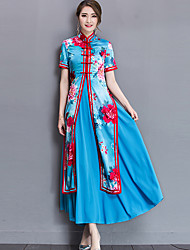 Plus Size Going out Chinoiserie Sheath Dress,Print Layered Split Crew Neck Maxi Short Sleeve Polyester Nylon Blue Spring Summer Mid Rise