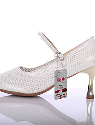 Women's Latin Dance Shoes Leatherette   Rubber Full Sole  Gold Heels Indoor Outdoor Silver Gold