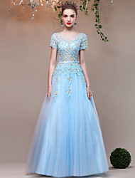 A-Line Jewel Neck Floor Length Lace Satin Tulle Formal Evening Dress with Beading Embroidery Flower(s) by QZ
