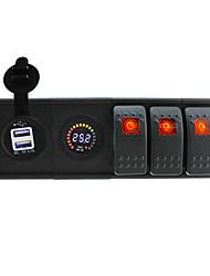 DC 24V LED Digital voltmeter 3.1A USB Socket with toggle rocker switch jumper wires and housing holde