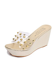 Women's Sandals Comfort PU Spring Summer Casual Dress Comfort Rivet Wedge Heel Gold Silver 2in-2 3/4in
