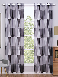 cheap -Grommet Top Two Panels Curtain Modern, Print Geometic Living Room Polyester Material Sheer Curtains Shades Home Decoration