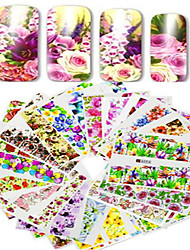 cheap -48pcs/set Water Transfer Sticker Nail Sticker Nail Stamping Template Stickers Nail Art Design Flower Nail Decals
