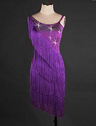 Devemos vestir a dança latina vestido de organza de desempenho feminino