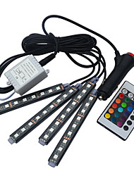 Car RGB LED Strip Lights 16 Colors Car Styling Decorative Atmosphere Lamps Car Interior Light With Remote control DC12V