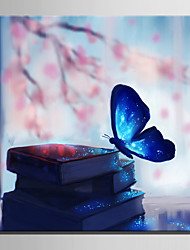 E-HOME® Stretched LED Canvas Print Art Butterfly in Book LED Flashing Optical Fiber Print One Pcs