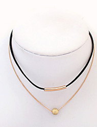 cheap -Women's Round Tube Fashion Double-layer European Choker Necklace Resin Alloy Choker Necklace , Daily