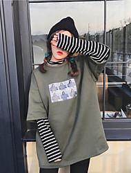 Sign ~ 2017 spring Korean Harajuku style loose stitching hedging fake two striped long-sleeved sweater
