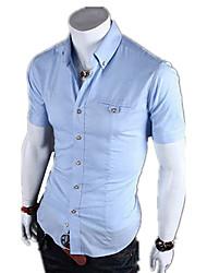 Недорогие -Для мужчин Официальные На каждый день Офис Все сезоны Рубашка Рубашечный воротник,Простое Однотонный С короткими рукавами,Хлопок Полиэстер