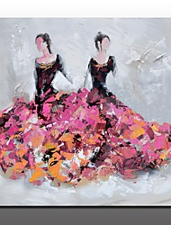 Hand-Painted People Modern Abstract Oil Painting Hand Painted Figure Painting Two Women in Dress Unframed Abstract Art Oil Painting for Home Decor