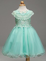 cheap -Ball Gown Short / Mini Flower Girl Dress - Organza Sleeveless Jewel Neck with Bow(s) by LAN TING Express