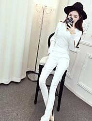 segno della molla nuova camicia di scarico di perline con scollo a V + selvaggio pantaloni slim tuta nett